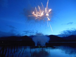 7-4-12 fireworks last night over the Inside Passage, looking toward Kupreanof Island in Petersburg, AK.   Cindi Lagoudakis