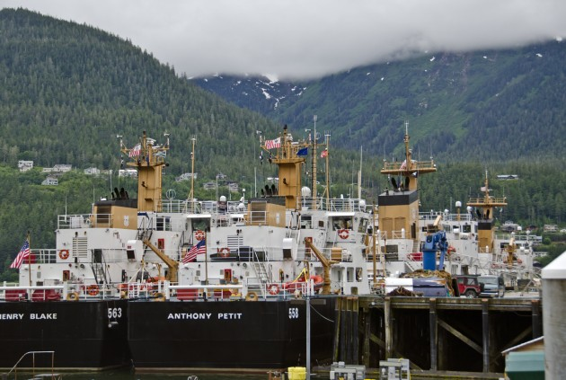 Coast Guard cutters are docked in Juneau this week for the annual Buoy Tender Round-up, a series of training exercises for the Coast Guard. (Photo by Heather Bryant/KTOO)