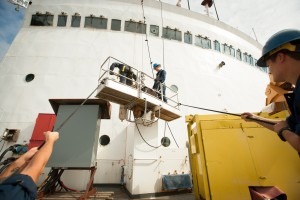Seattle - August 2, 2012, Crewmember of U.S. Coast Guard Cutter Polar Star (WAGB 10), work to refurbish the cutter as it prepares for re-commission. Polar Star is a heavy icebreaker first commissioned in 1976. U.S. Coast Guard Photo by Petty Officer 2nd Class LaNola Stone.