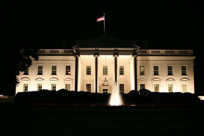 The White House at night.