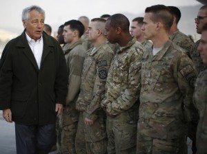 Secretary of Defense Chuck Hagel with U.S. troops in Kabul, Afghanistan, on March 11. Jason Reed/pool/Getty Images