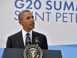 President Obama during his news conference Friday in St. Petersburg, Russia. Jewel Samad /AFP/Getty Images