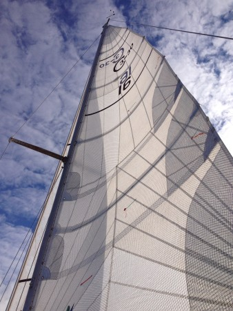 The main sail of the Surprise, skippered by Anthony Crupi. (Photo by Lisa Phu/KTOO)