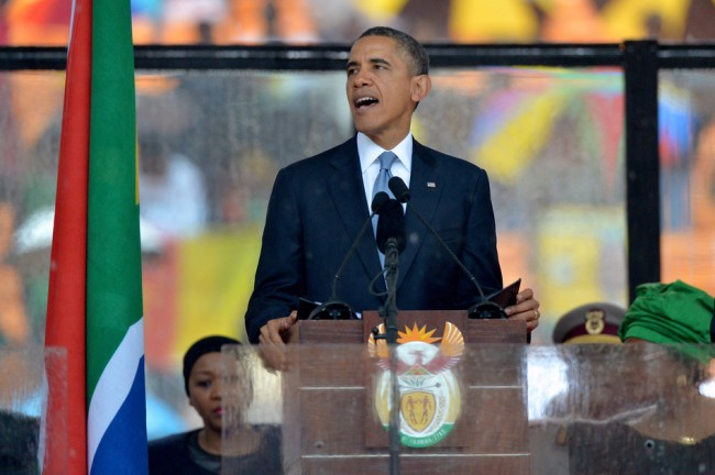 President Obama delivers a speech during the memorial service for late South African President Nelson Mandela at Soccer City Stadium in Johannesburg Tuesday. Alexander Joe /AFP/Getty Images