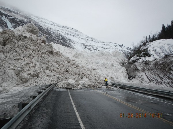 Keystone Canyonn avalanche cleanup. (Photo courtesy of the Alaska Department of Transportation)