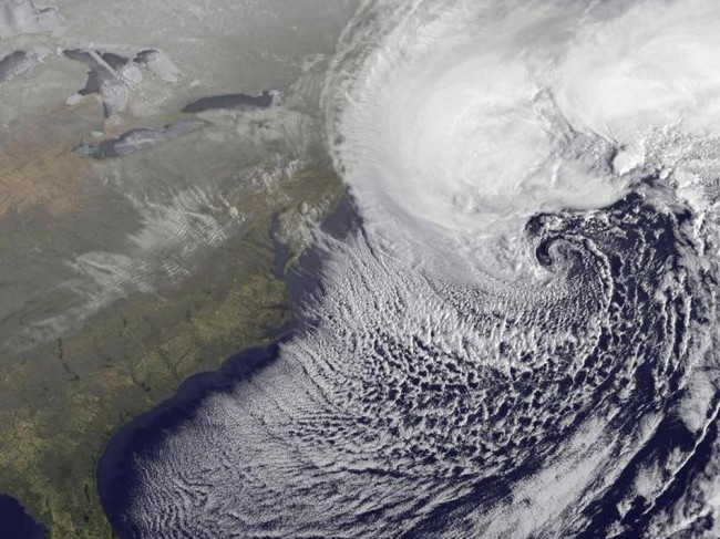 A NOAA satellite image of the storm off the coast of New England. NOAA
