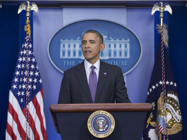 """President Obama speaks about health care on Thursday. ACA enrollment has reached 8 million, he said, and it's """"well past time"""" for Republicans to stop trying to repeal it. Carolyn Kaster/AP"""