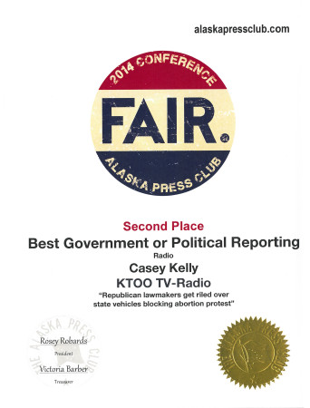 "Casey Kelly also won place in political radio reporting for his piece ""Republican lawmakers get riled over state vehicles blocking abortion protest."""