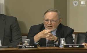 Rep. Don Young questioned the source of concerns regarding development in refuges. (Still from hearing video)