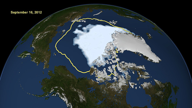 Arctic Sea ice in September 2012. Yellow line shows average ice coverage from 1979 to 2010. (Photo courtesy of NASA)