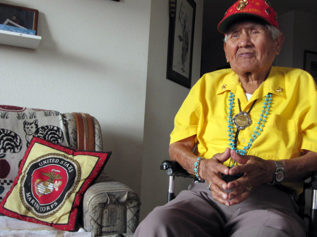Chester Nez, one of 29 Navajo Code Talkers whose language skills thwarted the Japanese military in World War II, is shown in a November 2009 photo. Nez died on Wednesday. Felicia Fonseca/AP