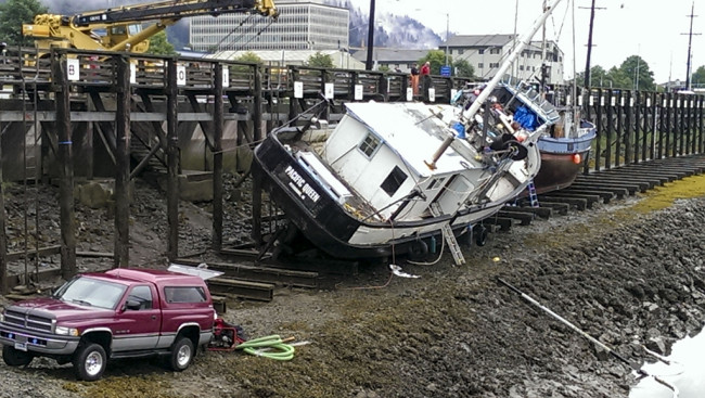 The Pacific Queen partially sank on August 12. (Photo Courtesy Scott Simonson)