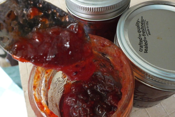 Yum! Homemade salmonberry jam with a few raspberries and blueberries mixed in is delicious! (Photo by Matt Miller/KTOO)