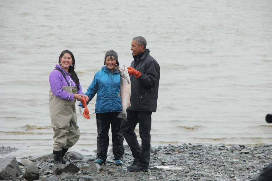President Obama picked up a silver on the beach in Dillingham. (Photo by Hannah Colton/KDLG)